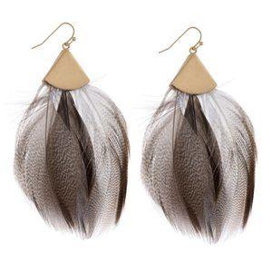 Grey Boho feather earrings.